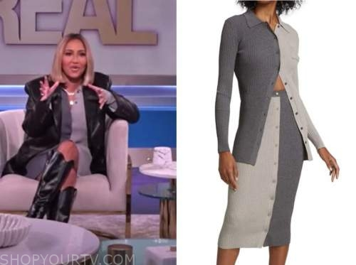 adrienne bailon, the real, grey colorblock knit top and skirt