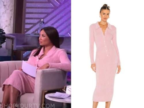 the real, jeannie mai, pink fuzzy pearl button knit dress