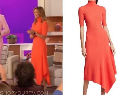 natalie morales, the talk, orange coral turtleneck dress