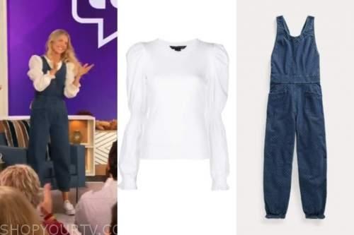 amanda kloots, the talk, denim jumpsuit, white puff sleeve top