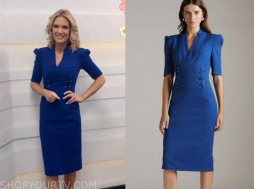 good morning britain, blue dress, charlotte hawkins