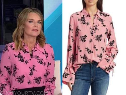 savannah guthrie, the today show, pink and black floral shirt