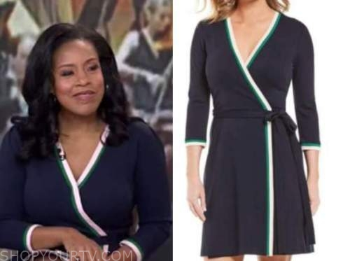 sheinelle jones, the today show, navy blue contrast trim wrap dress