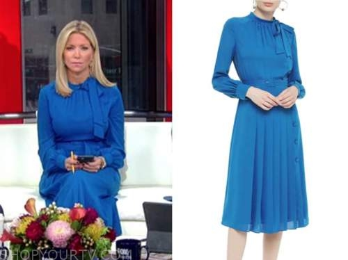 fox and friends, ainsley earhardt, blue pleated midi dress