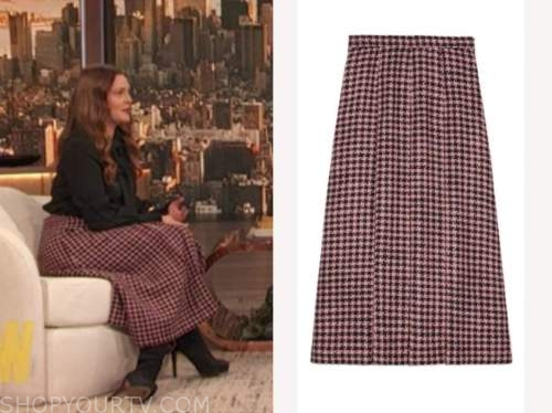 drew barrymore, drew barrymore show, pink houndstooth wool skirt