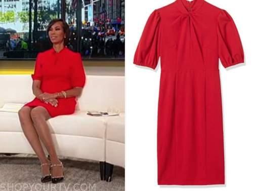 harris faulkner, red keyhole twist dress, outnumbered