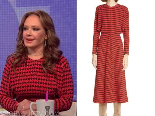 leah remini, red and black houndstooth midi dress, the wendy williams show