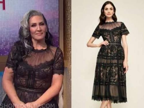 michelle visage, black lace midi dress, the wendy williams show