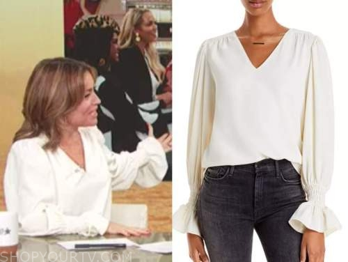 kit hoover, access daily, ivory v-neck top