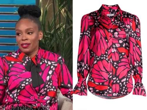 amber ruffin, pink butterfly satin shirt, E! news, daily pop