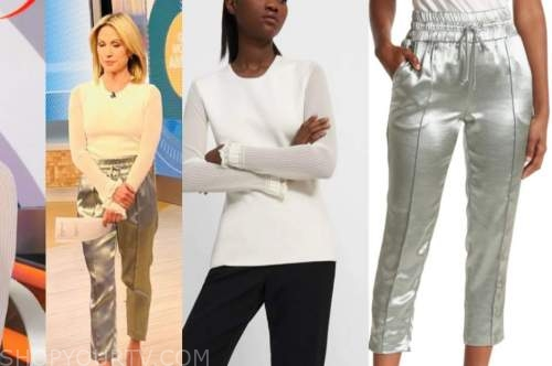 amy robach, good morning america, white sweater, green satin pants