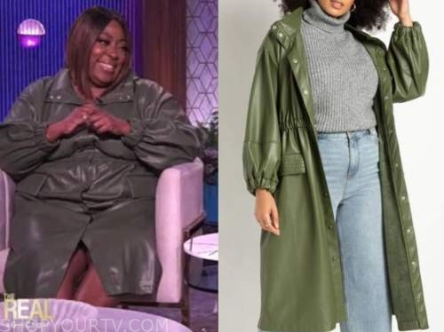 loni love, the real, green leather trench dress