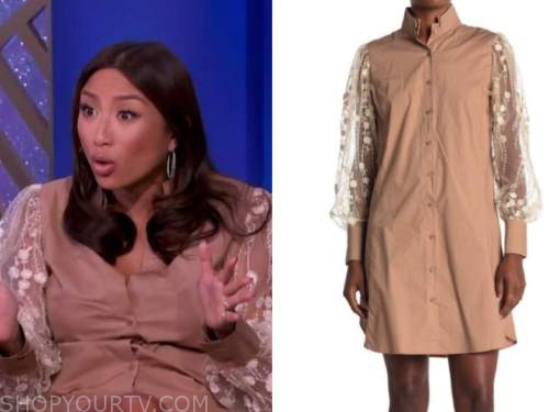 the real, jeannie mai, embroidered sleeve dress