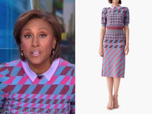 robin roberts, good morning america, purple geometric knit top and skirt