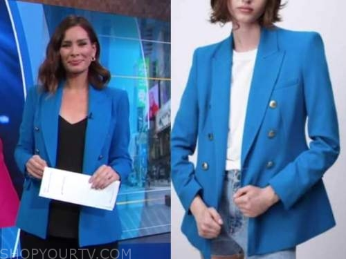 rebecca jarvis, good morning america, blue double breasted blazer
