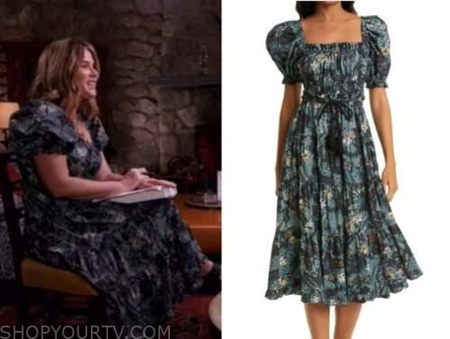 jenna bush hager, the today show, teal blue printed midi dress