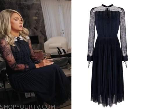 paris hilton, good morning america, blue lace pleated dress