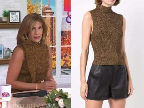 hoda kotb, the today show, gold metallic knit sweater top