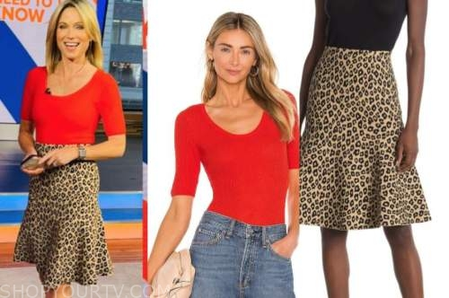 amy robach, good morning america, red top, leopard skirt