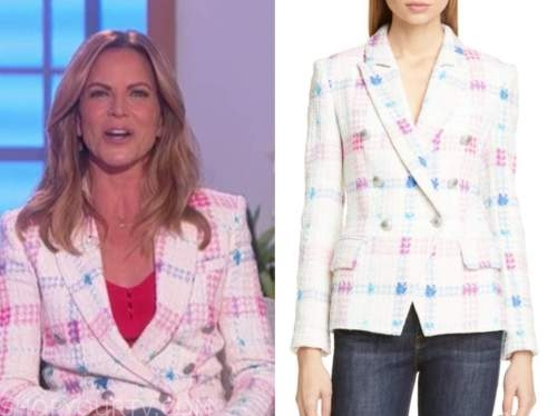 natalie morales, the talk, white tweed double breasted blazer