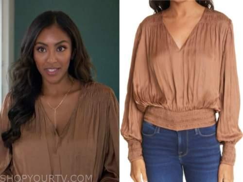 tayshia adams, the bachelorette, brown blouse