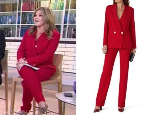 the today show, jenna bush hager, red blazer and pant suit