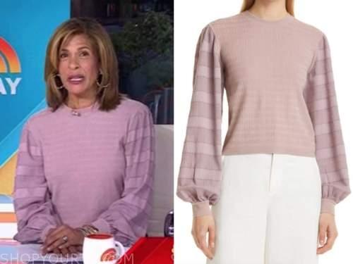 hoda kotb, the today show, purple striped sleeve sweater
