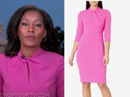 rachel scott, pink twist neck dress, good morning america