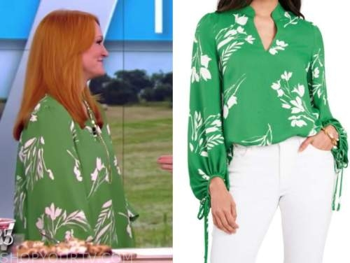 ree drummond, the view, green floral blouse