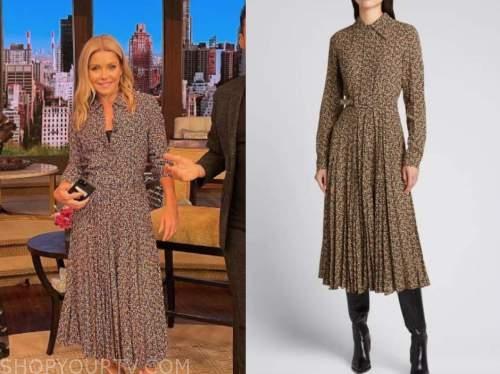 live with kelly and ryan, kelly ripa, brown paisley shirt dress