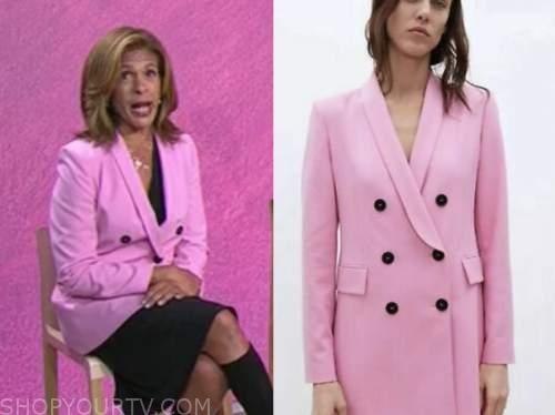 the today show, pink double breasted blazer, hoda kotb