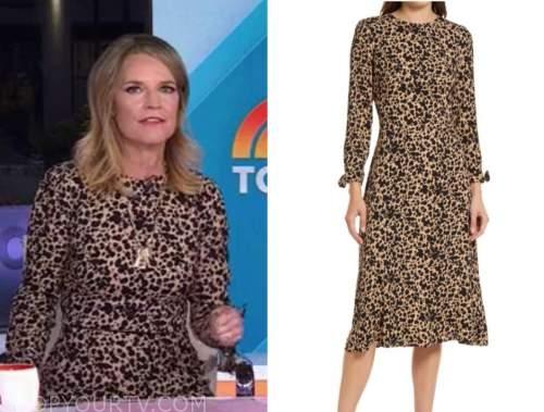 savannah guthrie, the today show, black and tan spot leopard midi dress