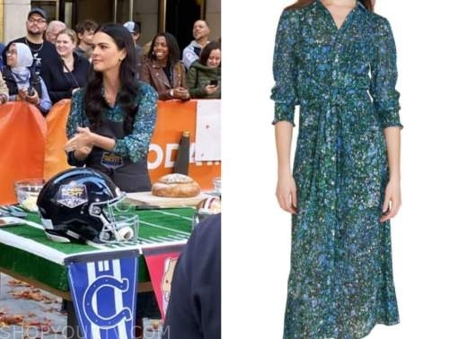 the today show, katie lee biegel, blue and green floral midi dress