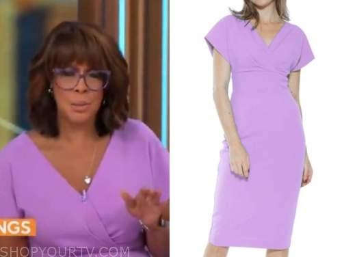 gayle king, purple dress, cbs mornings