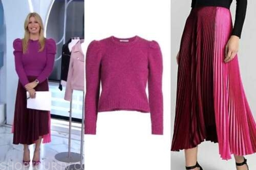jill martin, pink sweater, pleated skirt, the today show