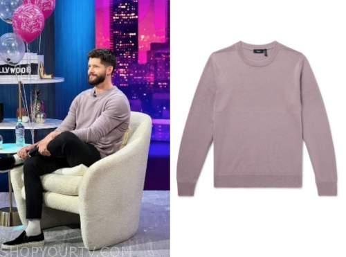 hunter march, e! news, nightly pop, purple sweater
