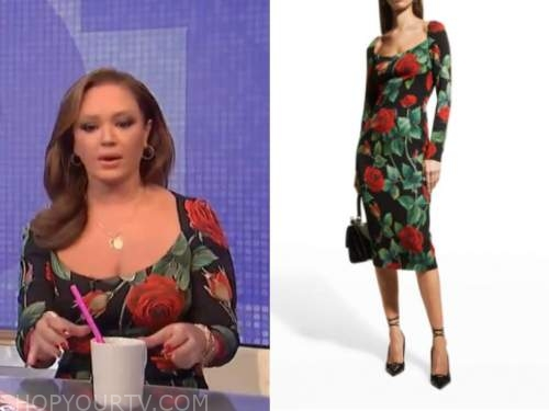 leah remini, the wendy williams show, rose print square neck dress