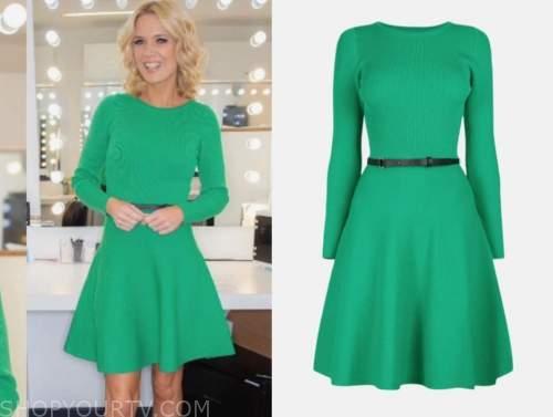good morning britain, green knit dress, charlotte hawkins