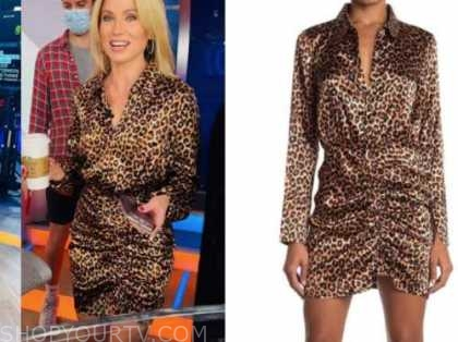 amy robach, good morning america, leopard satin ruched shirt dress