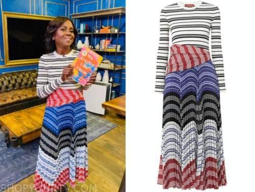 deborah roberts, good morning america, striped pleated dress