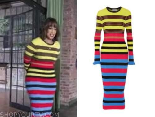 gayle king, cbs mornings, striped knit dress