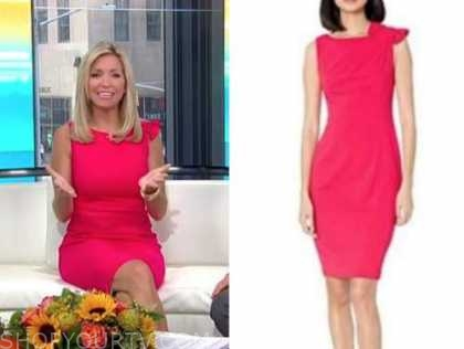 ainsley earhardt, fox and friends, pink bow sheath dress