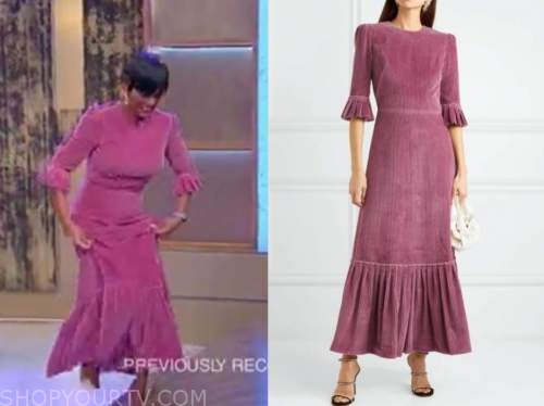 tamron hall, tamron hall show, purple corduroy dress
