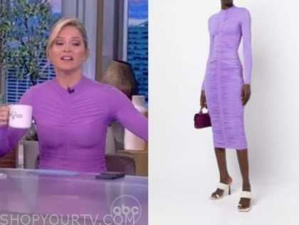 sara haines, the view, purple ruched dress