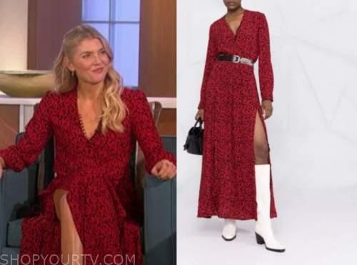 amanda kloots, the talk, red printed dress