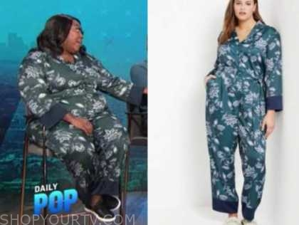 loni love, the real, green and blue floral jumpsuit