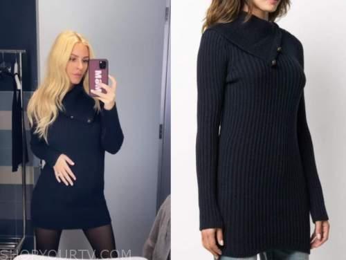 morgan stewart, navy blue sweater dress, E! news, daily pop