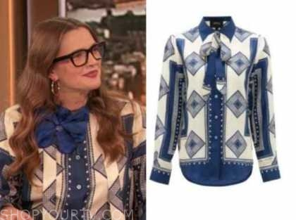 drew barrymore, drew barrymore show, blue and ivory printed blouse