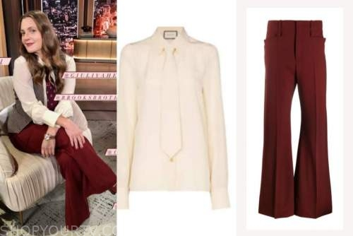drew barrymore, drew barrymore show, ivory top, burgundy pants