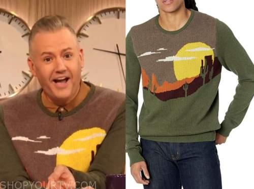 ross mathews, drew barrymore show, green landscape sweater